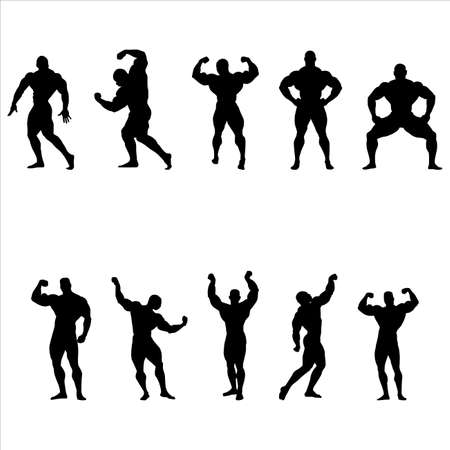 A set of silhouettes of bodybuilders Vector
