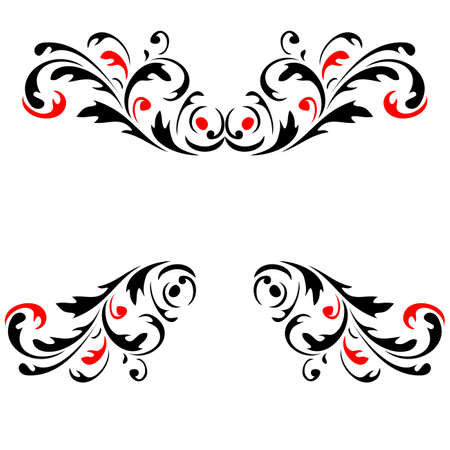 Abstract flower pattern 4  Red and Black vector