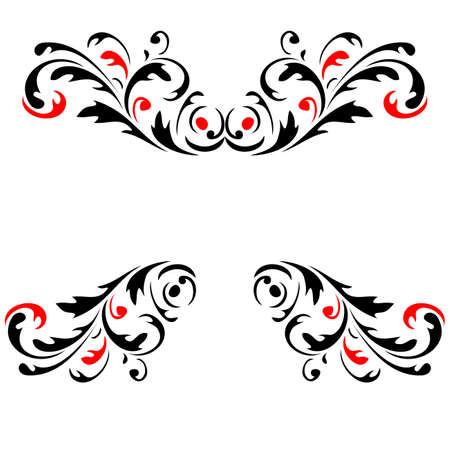 twirl: Resumen patr�n de flores 4 Rojo y Negro de vectores Vectores