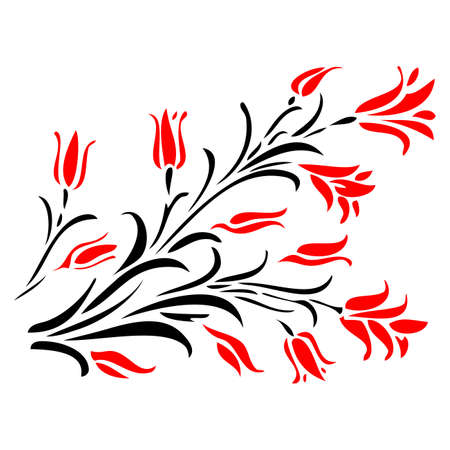 Abstract flower pattern 5  Red and Black vector