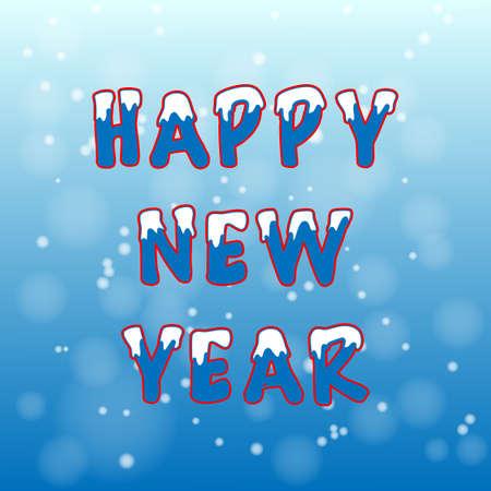 Cartolina di Natale con la neve su sfondo blu vettore blu