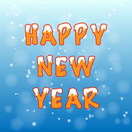 Cartolina di Natale con la neve su sfondo blu arancione vettoriale Vettoriali