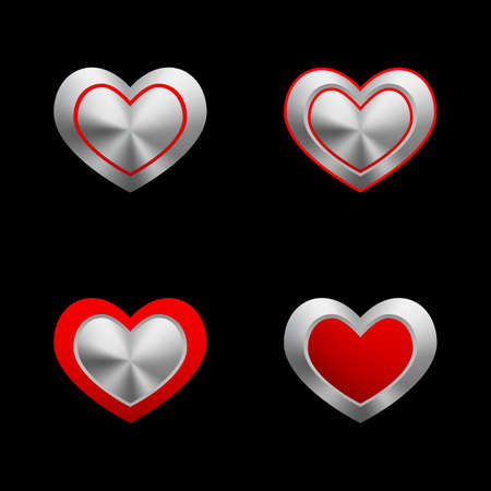 Empty metal hearts2  Vector Vector
