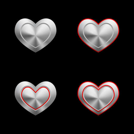 Empty metal hearts  Vector Vector