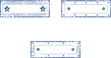 Set of empty rectangular stamps  Vector Illustration