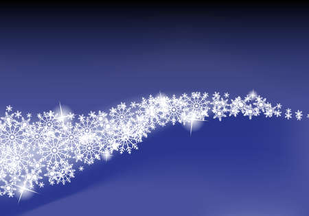 Blue Abstract background with white snowflakes  Vector