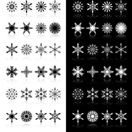 Snowflakes with shadow on black and white  Vector Illustration