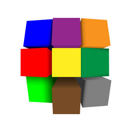 3D cubes background  Vector