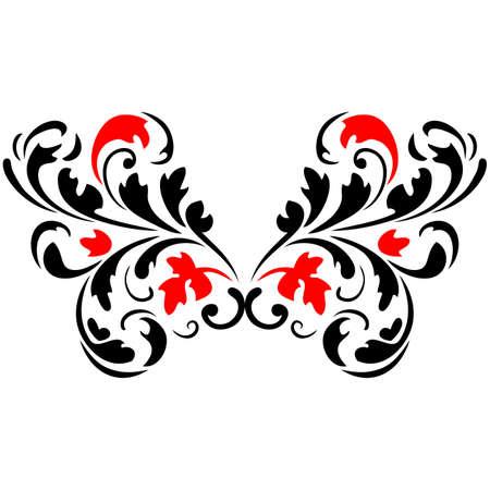 Abstract fiore pattern3 rosso e nero Vector