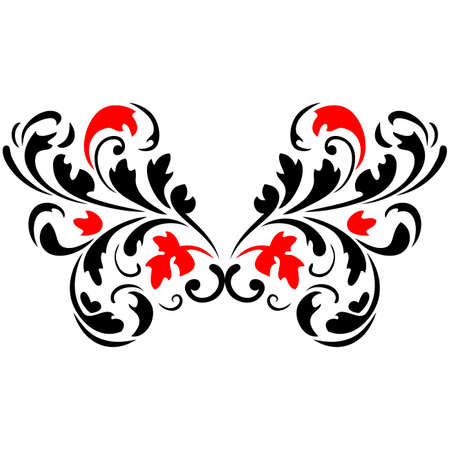 Abstract flower pattern3  Red and Black  Vector