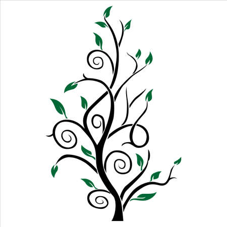 Abstract tree color silhouette  Green and black  Vector Illustration
