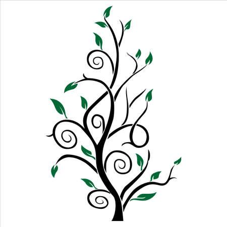 Astratto colore tree silhouette verde e Vector nero Vettoriali