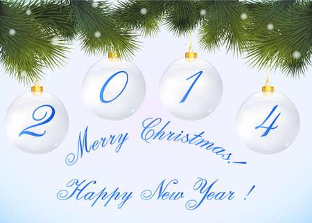 Cartolina di Natale 2014 in forma di palle di Natale e ramo di un albero Vector Vettoriali