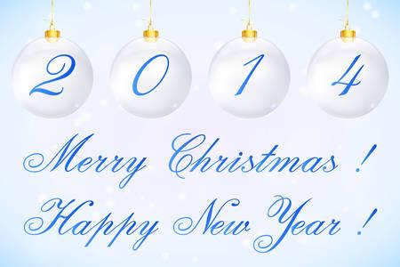 Cartolina di Natale 2014 sotto forma di palle di Natale Vector