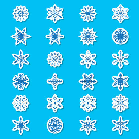 Icons of blue snowflakes  Vector Illustration