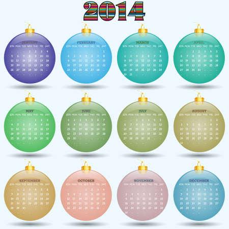Original calendar for 2014 in the form of Christmas balls  Vector