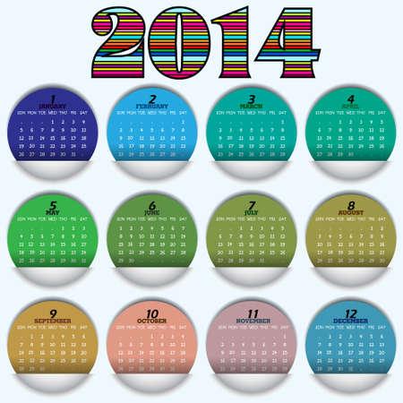 Original calendar for 2014  Vector