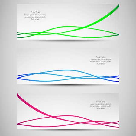 Set di banner con le onde colorate Vector