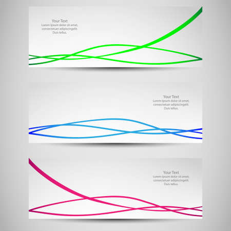Set of banners with colored waves  Vector Illustration
