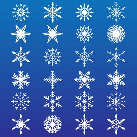 White snowflakes on the blue background