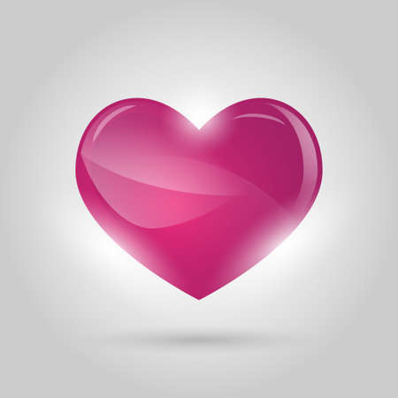 glowing heart on gray background