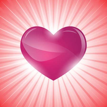 incandescente cuore su sfondo rosa