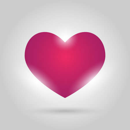 glowing pink heart on gray background Illustration