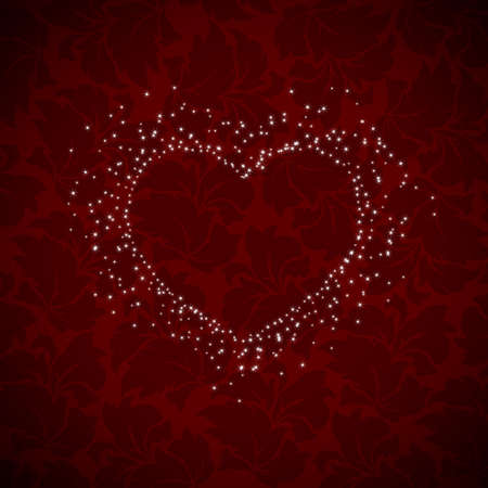 heart burst on dark red background Stock Vector - 25041179