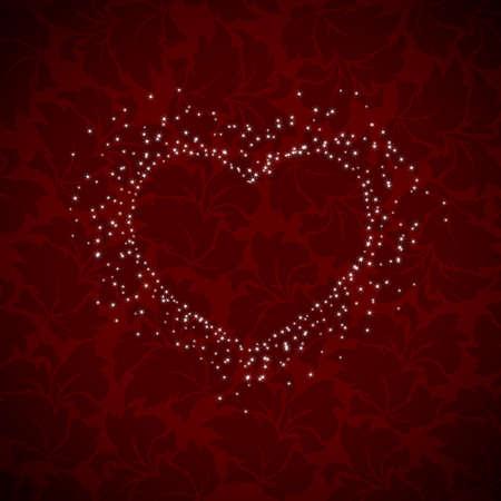 heart burst on dark red background Illustration