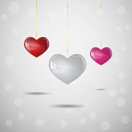 Valentine hearts on gray background
