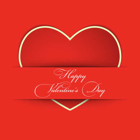 Valentines day card with heart from paper Illustration
