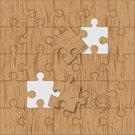 Puzzle made piece of wood