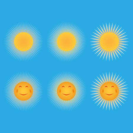 Set di soli Sun, sotto forma di uno smiley Vettoriali