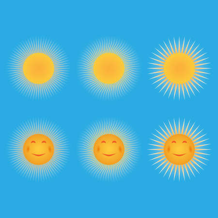 Set of suns  Sun in the form of a smiley