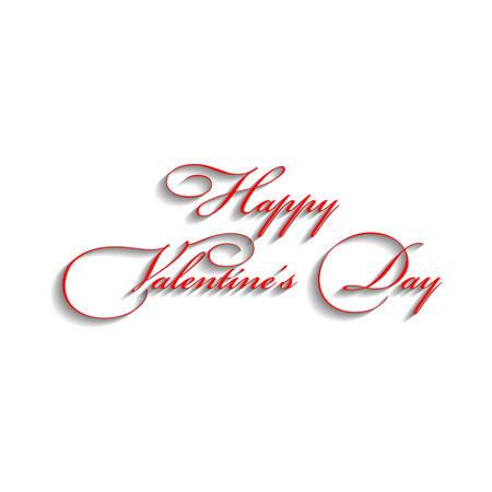Disegno di testo di felice giorno di San Valentino Red