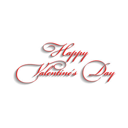 Text design of happy valentine day  Red