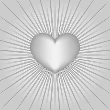 White heart on glowing background Illustration