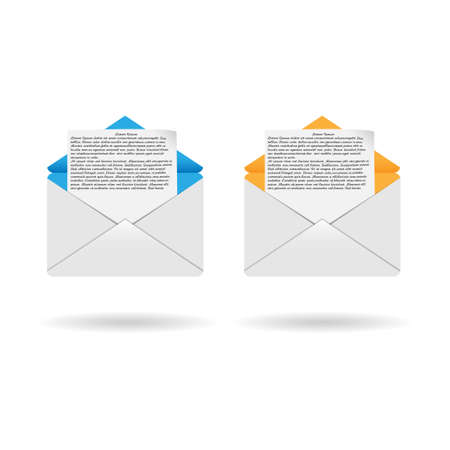 Colored envelopes with letter