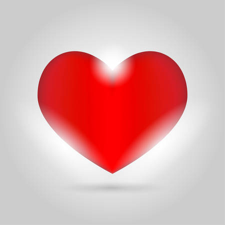 Glowing Isolated heart on gray background