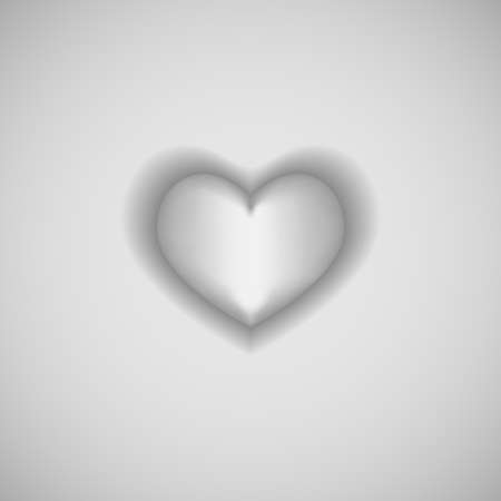 Isolated white heart on gray background