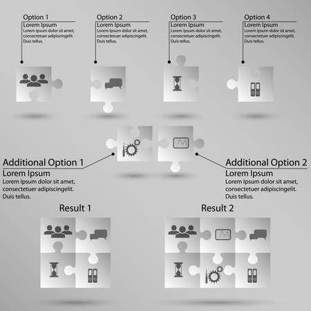 Set di puzzle per infografica su sfondo bianco Vettoriali