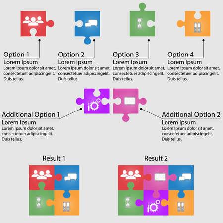 Set di puzzle per infografica