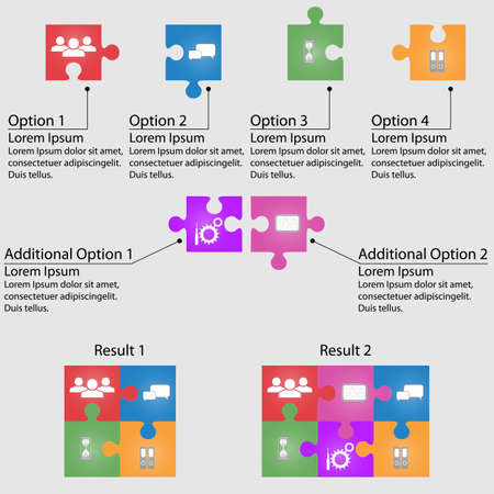 Set of puzzle for infographic