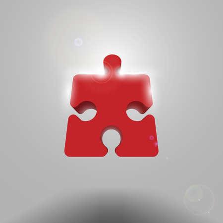 Volumetrica rosso pezzo del puzzle Vettoriali