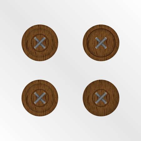 Bottoni in legno isolate