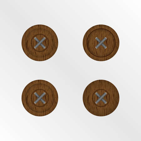 Wooden buttons isolated Illustration