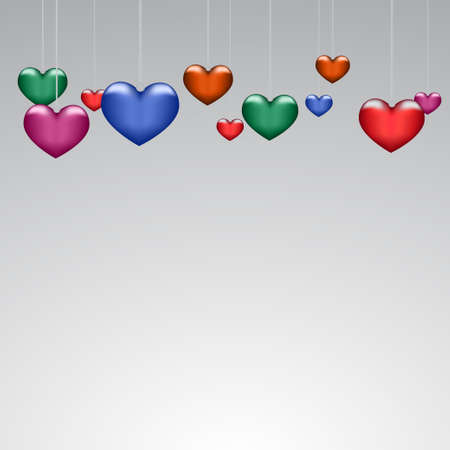 Background beautiful multicolored hearts on paper Illustration