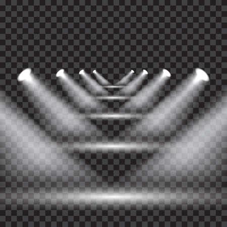 Bright transparent lighting with spotlights at different medium levels Illustration