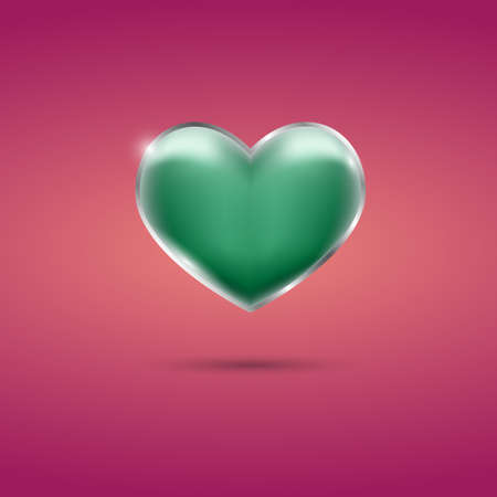 Glowing green heart with frame on pink background Illustration