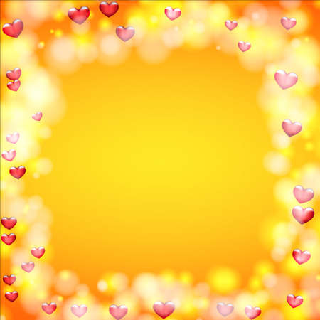 Background for greeting card for Valentines day. Hearts around